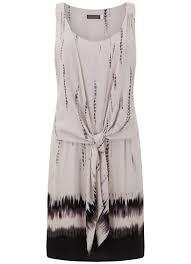 Honey Print Tie Front Dress