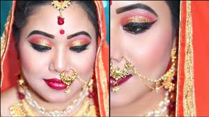 द ल हन क म कअप क स कर step by step bridal makeup red golden glittery eyes indian bridal makeup