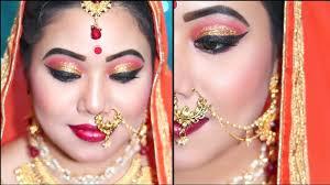 द ल हन क म कअप क स कर step by step bridal makeup red golden glittery eyes indian bridal makeup