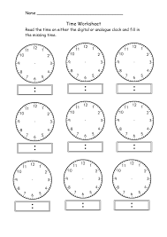 Telling Time Printable Worksheets First Grade Refrence Blank Clock ...