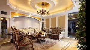 Interior:Luxury Classic Decor Of Living Room With Ornamental Ceiling Design  Idea And Tuscan Furniture