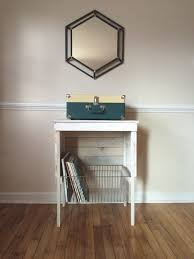 white washed reclaimed record player storage stand