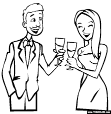 Small Picture New Years Eve Champagne Toast Coloring Page