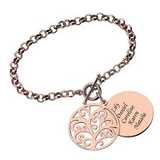 ailin engraved family tree bracelet rose gold color disc name bracelet tree of life jewelry mother s day gift