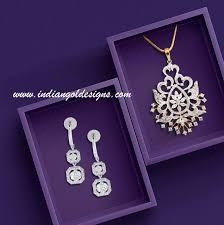 tanishq diamond pendant set