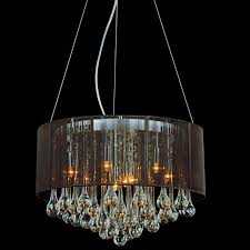 picture of 18 gocce modern string drum shade crystal round chandelier polished chrome with black