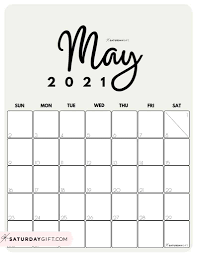 Customise and print calendar 2021 : Cute Free Printable May 2021 Calendar Saturdaygift