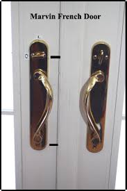 marvin wood french doors shows inside handles