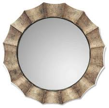 contemporary silver champagne round wall mirror