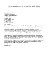 Cover Letter Examples For Administrative Assistant Cover Letter