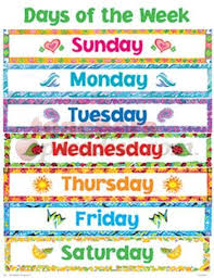 Days Of The Week Chart Cheap Charts Days Of The Week Learning Games For Kids