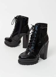 it s true lug chunky faux patent booties black