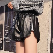 senarai harga 2019 new pu leather shorts women s black high quality short pants with pockets loose