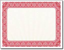 28lb Red Border Certificates 500 Certificates