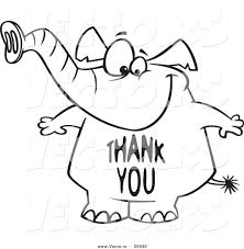 Small Picture Vector of a Cartoon Elephant with a Thank You Belly Outlined