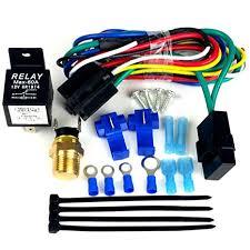 amazon com radiator fan relay wiring kit single dual fan amazon com radiator fan relay wiring kit single dual fan configuration automatic on off automotive