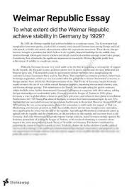 assess the impact of the treaty of versailles on and its   essay to what extent did the weimar republic achieve stability in by 1929
