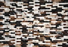 stunning rectangle patchwork cowhide rug design