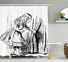 black and white shower curtain set. alice in wonderland decorations shower curtain set by ambesonne, black and white looking through