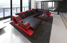 modern leather sofa with led lights black red