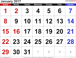 January 2017 Calendars for Word, Excel & PDF