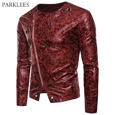 fashion ice pattern leather look jacket men 2018 brand new obique zipper mens jackets and coats metal hole streetwear male black leather jacket down