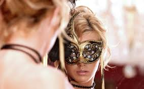 Hot blonde with mask