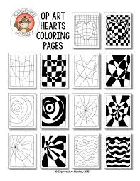 Small Picture Op Art Hearts Coloring Pages Op art Zentangle and Art lessons