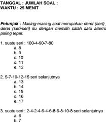 0awaban c, 'embahasan, semua gambar bola memiliki pola ang sama, kecuali pada gambar c untuk soal soal. Soal Cpns Deret Angka Mata Pelajaran