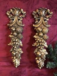 vintage pair syroco wood gold phoenix