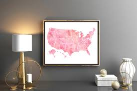 Large Us Map Poster Pink United States Map 50 States All States Usa Map Large Us Map Poster Watercolor Map Of United States Usa Map Poster Map Wall Art Poster