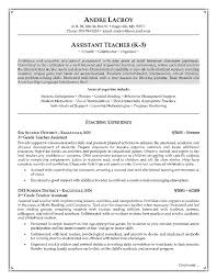 teacher assistant resume example page 1 career objective examples for teachers
