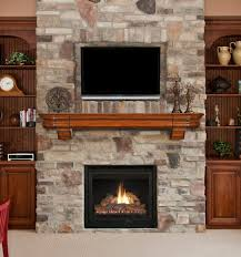 nice brick stone wall fireplace designs with wooden fireplace mantel accent wall shelves with tv above stone fireplace