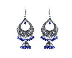 pearl silver plated chandelier bali jhumki earring blue