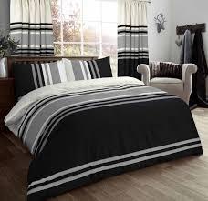 striped 3 tone stylish reversible print bedding duvet cover set black grey cream 11596 1 p jpg