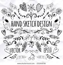 stock vector big set of sketches and line doodles hand drawn design elements isolated flowers leaves 221849794 heart doodle stock images, royalty free images & vectors on arrow templates cute big