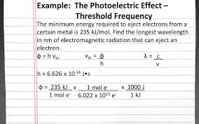 chemistry 101 photoelectric effect threshold frequency