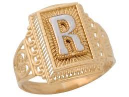 R Letter Ring Designs 10k Or 14k Two Tone Gold Antique And Filigree Design Mens