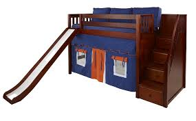 Maxtrix Mid Loft Bed wStaircase on End Slide