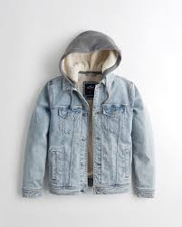 hollister sherpa lined hooded mens denim jacket light wash 921esgja