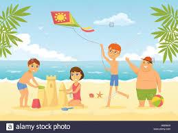 happy children on the beach cartoon people character ilration