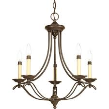 five light antique bronze ivory finish candle sleeves glass up chandelier