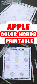 ⭐ free printable word coloring book. Apple Color Words Printable School Time Snippets