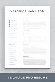 Professional Resume Template Set With One Page And Two Page Resume