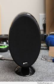 kef egg. i dismantled the egg simply by removing rubber facing which revealed two allen heads. consequently enough, kef includes an wrench for o