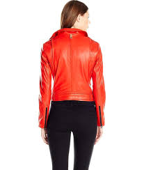 mackage hania belted lamb skin leather jacket with metal hardwear detail in flame
