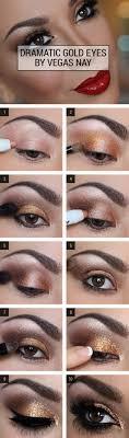 step by step smokey eye tutorials dramatic gold glitter eyes step by step tutorials
