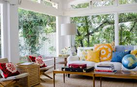 interior: Colorful Cushions On White Couch Front Globe On Wood Table Inside  Bohemian Interior Design