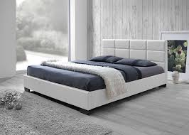 Modern bed White Amazoncom Baxton Studio Vivaldi Modern And Contemporary White Faux Leather Padded Platform Base Queen Size Bed Frame Kitchen Dining Amazoncom Amazoncom Baxton Studio Vivaldi Modern And Contemporary White Faux