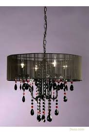vintage black red crystal glass 4 arm chandelier ceiling light with shade for